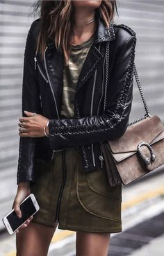 cute outfit leather jacket khaki top + skirt + bag