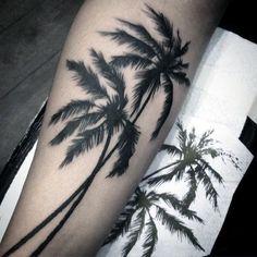 Dark Tall Palm Tree Tattoo For Men On Legs