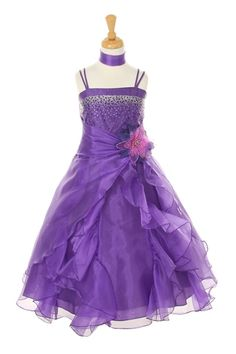 Girls Long Purple Dresses with Scarf and Ruffled Skirt
