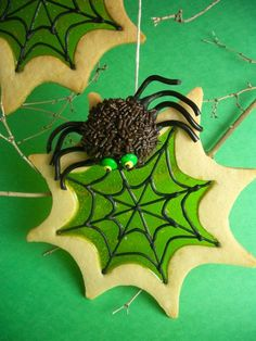 Spooky Stained Glass Sugar Cookie Spider Webs & Spiders