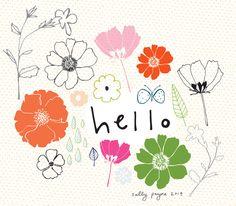 Illustration flowers and leaves hello-sallypayne