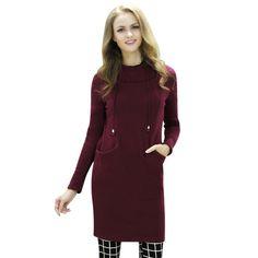2016 automne hiver chaud Hoodies robe femmes Long , Plus la taille sweat à  capuche pull vin rouge noir gris femmes robes dans Hoodies Et Pulls  Molletonnés ... 4295a06d262