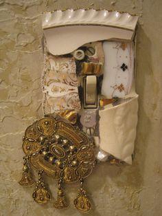Gold toned mosaic single switch plate, mosaic art.