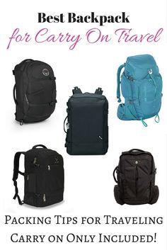 backpack Best Carry On Backpack The Best Backpack for Travel A backpack is the ideal size for traveling with carry on only. Let us help you pick the best backpack! Here are the 5 best carry on backpacks Backpack 2017, Backpack Purse, Backpack Brands, Packing Tips For Travel, Travel Essentials, Backpacking Tips, Weekender, Best Carry On Backpack, Travel