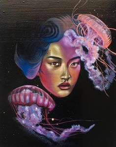 "A woman's face is illuminated by the beautiful but poisonous glowing jellyfish that surround her.  11"" x 14"" $275  Acrylic and Spray Paint on Boxed Wood Panel  Original Painting by Carly Ealey"