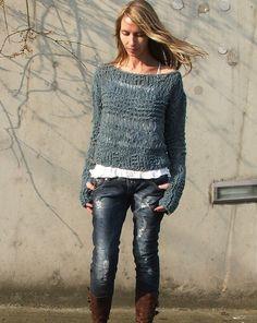 Teal blue grunge sweater Ltd Edition by ileaiye on Etsy,
