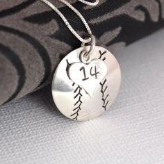 Hand-Stamped Baseball or Softball Necklace with Heart Charm stamped with Number on Wanelo