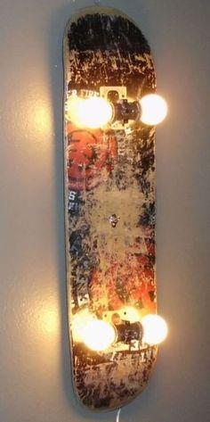 20 great ideas to breathe new life to old skateboards skateboard lamp recyclingideaslamp - Diy Lamp