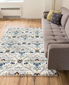 ... Ivory Floral Area Rug ( X ) Modern Oriental Geometric Soft Pile  Contemporary Carpet Thick Plush Stain Fade Resistant Bedroom Living Dining  Room Foyer