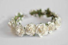 White wedding flower crown Bridal hair Wedding headpiece