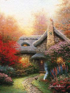Thomas Kinkade - Autumn at Ashley's Cottage  1992