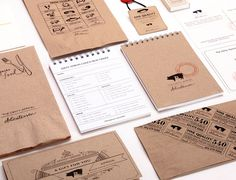 Packaging with uncoated unbleached board and hand stamps created by Glasfurd & Walker for delicatessen The Dirty Apron