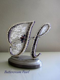 Purple Letter H Lace Cake Topper Rhinestone Topper Wedding
