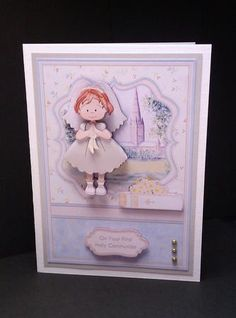 FIRST HOLY COMMUNION GIRL BIBLE Topper Decoupage on Craftsuprint designed by Janet Briggs - made by Lynda Tully