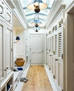 love the lockers, the bench, the ceiling... This would be the breezeway between the barn and guest house :)