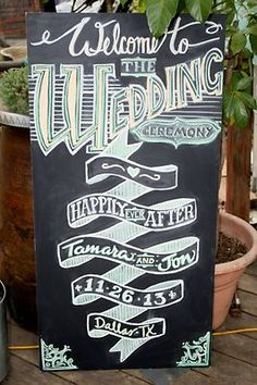 wedding chalkboard with a retro feel