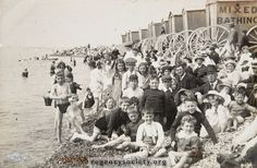 A view of the Hove beach showing bathing machines and many people on the tide line. Brighton Sea, Brighton Rock, Brighton And Hove, Beach Pictures, Old Pictures, Old Photos, Local History, British History, Seaside Shops