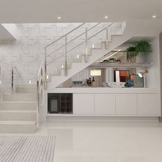 Stair Shelves, Staircase Storage, House Staircase, Modern Staircase, Staircase Design, Home Room Design, Home Interior Design, Living Room Designs, Stairs In Living Room