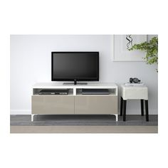 BESTÅ TV unit with drawers - white/Selsviken high-gloss/beige, drawer runner, soft-closing - IKEA