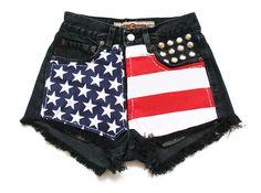 Black american flag shorts XXS by deathdiscolovesyou on Etsy, $40.00, american flag, american flag shorts, high waisted shorts, high waist shorts, high waist, high waisted, shorts, denim shorts, jean shorts, studded shorts, destroyed shorts, cut offs, cut off shorts, studding, studs, studded, shredded shorts, vintage, fashion, style, summer, cool, vintage, party, festival, pretty
