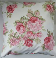 """Cushion Cover in Cream With Pink Rose and Floral Print 16"""""""