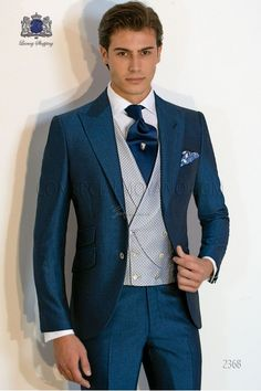 Traje de novio azul royal mixto lana mohair alpaca 63f12ed117b7