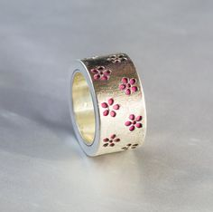 Handmade Silver Ring with Pink Leather Silver Ring with Flowers Cherry Blossom Ring Handmade Jewelry Statement Ring US Size 5.5 (75.00 USD) by LoveHMJewelry