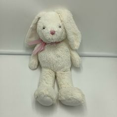 The Childrens Place TCP Off White Pink Gingham Bow Bunny Rabbit Plush Soft toy #TheChildrensPlace