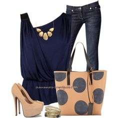 """Nude & Navy"" by shannonmarie-94 on Polyvore"