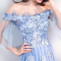9e7129381f5 Off Shoulder Floral Embellished Tulle Prom Dress. The Dress Rail Boutique