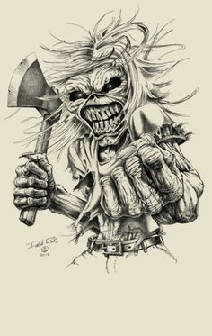 Derek Riggs - Eddie the Head Art Sketch Tattoo Design, Skull Tattoo Design, Skull Stencil, Skull Art, Iron Maiden Posters, Evil Skull Tattoo, Arte Punk, Heavy Metal Art, Tattoo Sketches