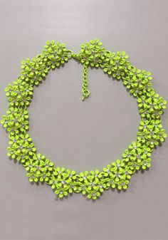 Floral Collar Necklace,  Neon Green