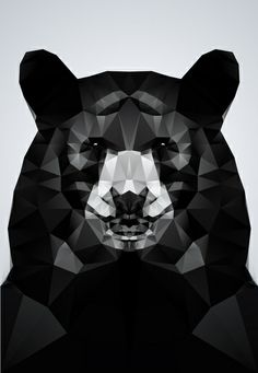 Bear - Black Geo Animal Series Art Print by Three of the Possessed