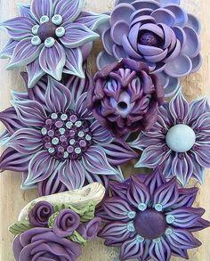 purple polymer clay flowers by ZudaGay