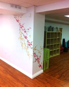 Julie recently used the Sakura #stencil from #CuttingEdgeStencils in her yoga studio! We love the wrap-around effect :)