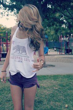 Love the hair, shirt, and shorts.