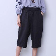 Linen String Loose Women Casual Pocket Black Pants