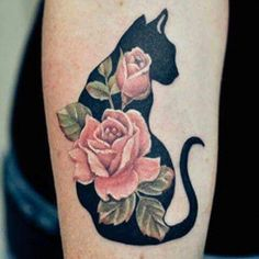 Gorgeous cat floral tattoo design