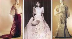 Traditional Filipino female formal wear: baro't saya and barong Balintawak Traditional Fashion, Traditional Dresses, Philippines Dress, Filipino Wedding, Filipiniana Dress, Filipino Fashion, Formal Wear Women, Vintage Fashion Photography, All About Fashion