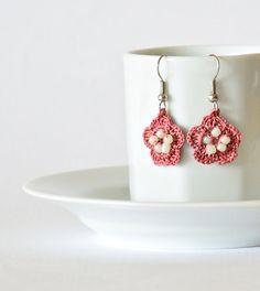 Handmade Crochet Earrings  Dusty Rose  White Beads by ReddApple, $12.99