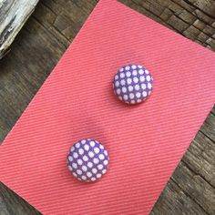 MASSIVE CLEARANCE, purple studs, polka dot studs, girl earrings, summer earrings, cloth button earrings, gift for her, gift for young lady by Bedotted on Etsy
