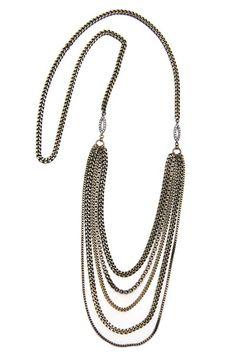 Brass Multi Layered Long Necklace