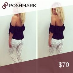 Sweetheart off the shoulder top & white pants BRAND NEW WITH TAGS! Purchased from a boutique and never ended up wearing it. Top is meant to wear off the shoulder. Tops Blouses