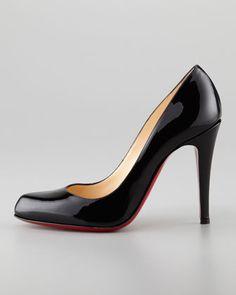 Christian Louboutin Decolette Patent Red Sole Pump, Black - Neiman Marcus