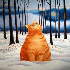 Ginger Cat in Snow by Vicky Mount. Christmas greeting card published by Art Cove UK.