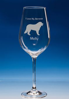 Bernese Mountain Dog Lover Gift Engraved Personalised Fine Quality Wine Glass Your Message - Birthday Gift - Christmas Gift - Dog Lover Gift