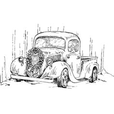 back of vintage truck coloring pages Truck Coloring Pages, Coloring Book Pages, Coloring Sheets, Christmas Truck, Christmas Colors, Wood Burning Patterns, Christmas Coloring Pages, Copics, Sketches