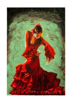 BAILAORA FLAMENCO. SPANISH ANDALUCIA TRADITIONAL POSTER Tango Art, Dance Paintings, Spanish Art, Flamenco Dancers, Color Pencil Art, Mexican Folk Art, Beautiful Drawings, Figure Painting, Love Art