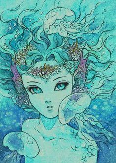 Abrir edición ACEO Print - Medusa Dance - sirena y medusas en tonos de azul y verde - Fantasy Art por Mitzi Sato-Wiuff