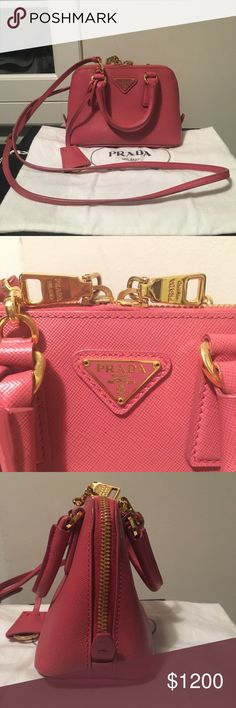 832d5409624f 💯Authentic PRADA Saffiano Rose Pink Mini Bag 💯Authentic!!! Used less than